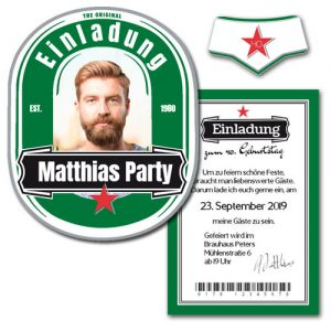 Flaschenetikett als ausgefallene und originelle Einladung selbst gestalten Geburtstag Party Flaschenetikett gestalten