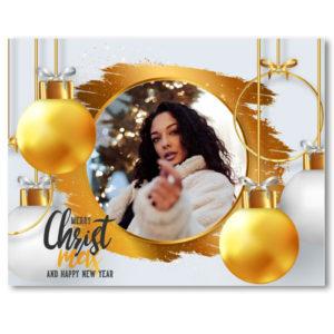 Flaschenetikett für Weinflaschen und Sektflaschen als Geschenk zu Weihnachten - Version Weihnachtskogeln gold/weiß mit Foto